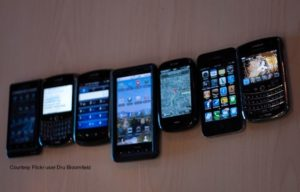 Various smartphones lined up