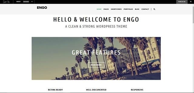 Engo WordPress theme with slider