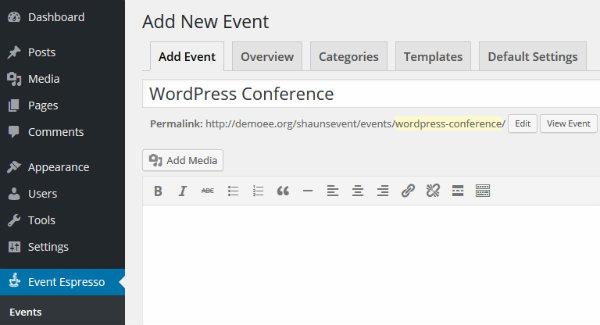 Adding a new event on Event Espresso