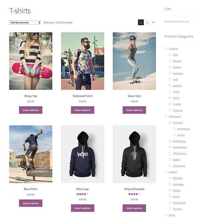 Typical WooCommerce Store Layout