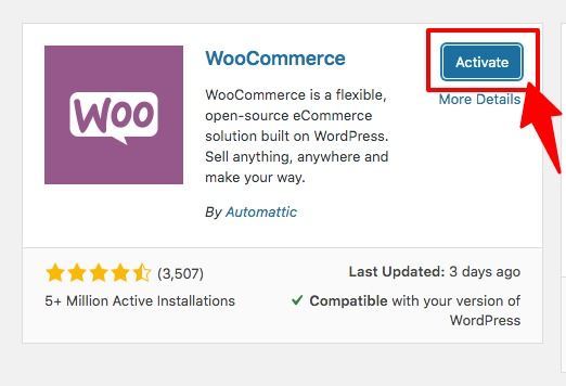 Activating WooCommerce in WordPress