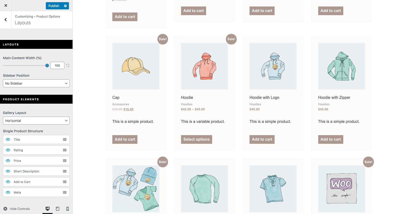 WooCommerce product layout customize options