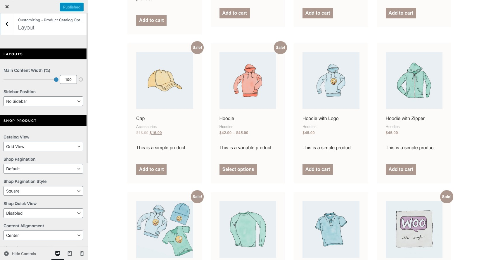 WooCommerce layout customizing options