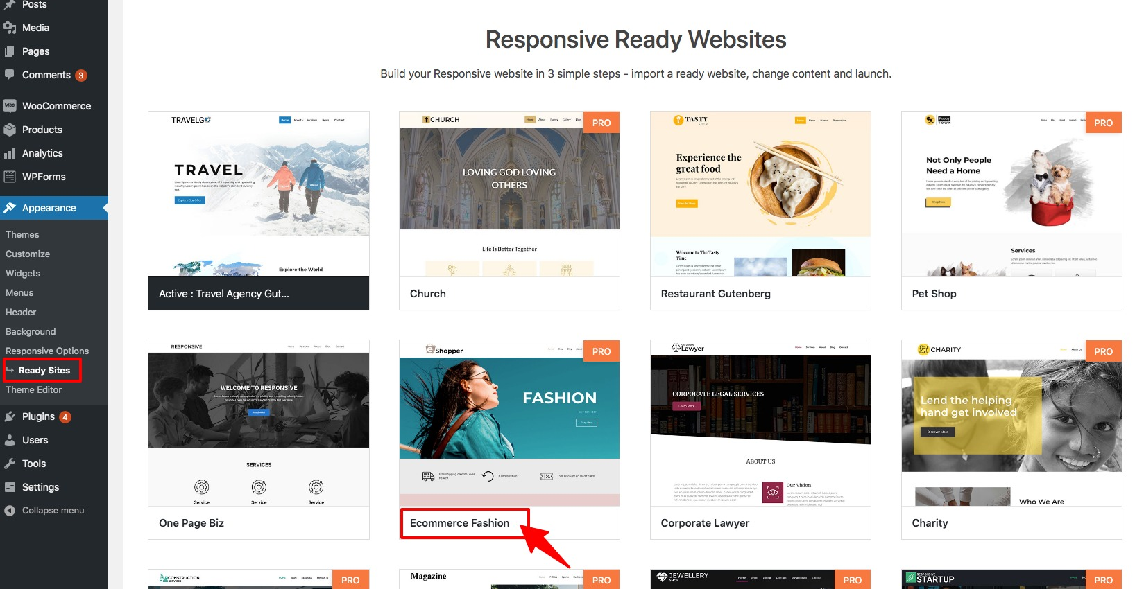 Responsive theme ready sites templates