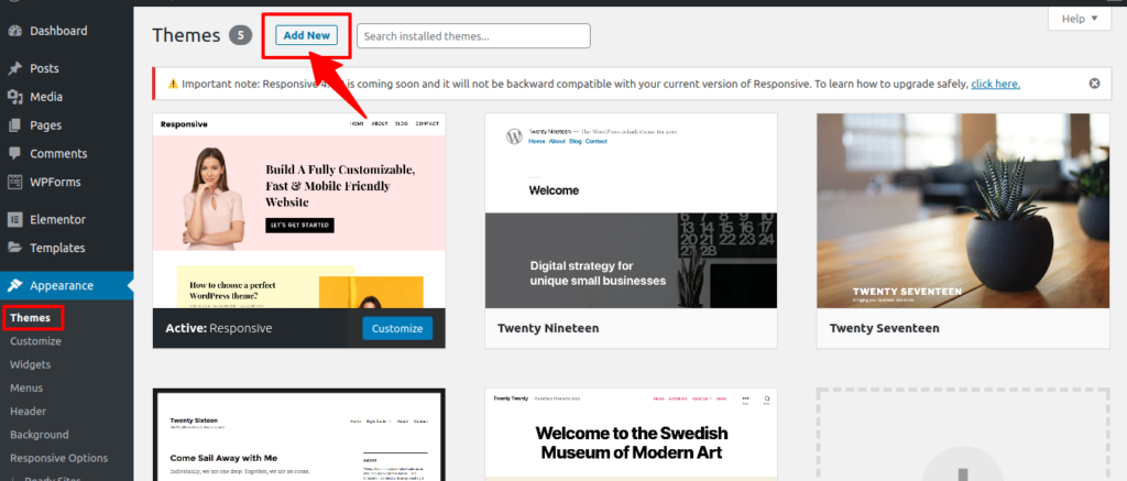 Adding Responsive theme in WordPress