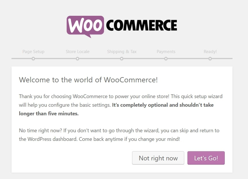 WooCommerce's on-screen setup wizard