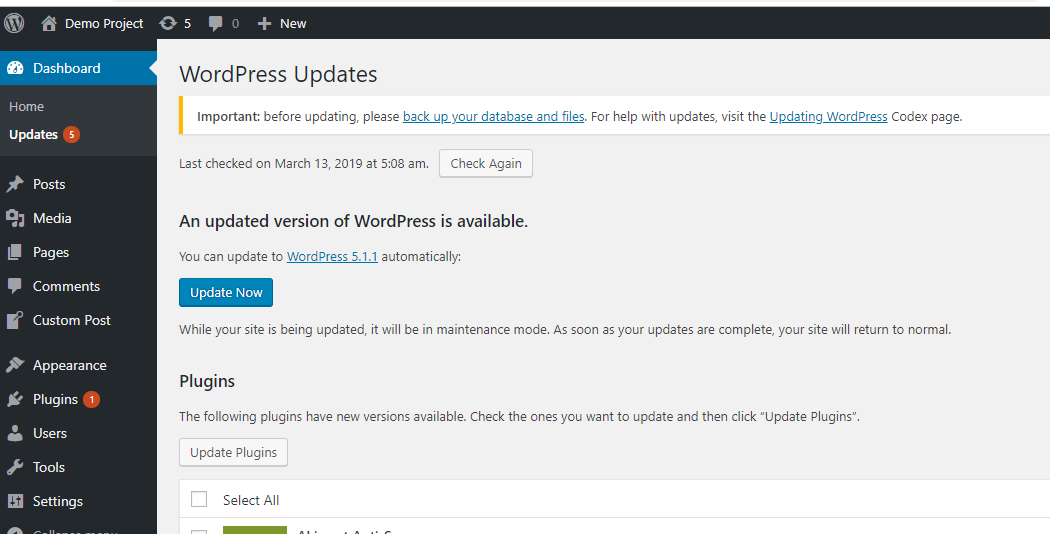 Method1- click on wordpress updates in the dashboard