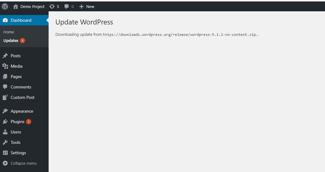 WordPress Update - Method 1