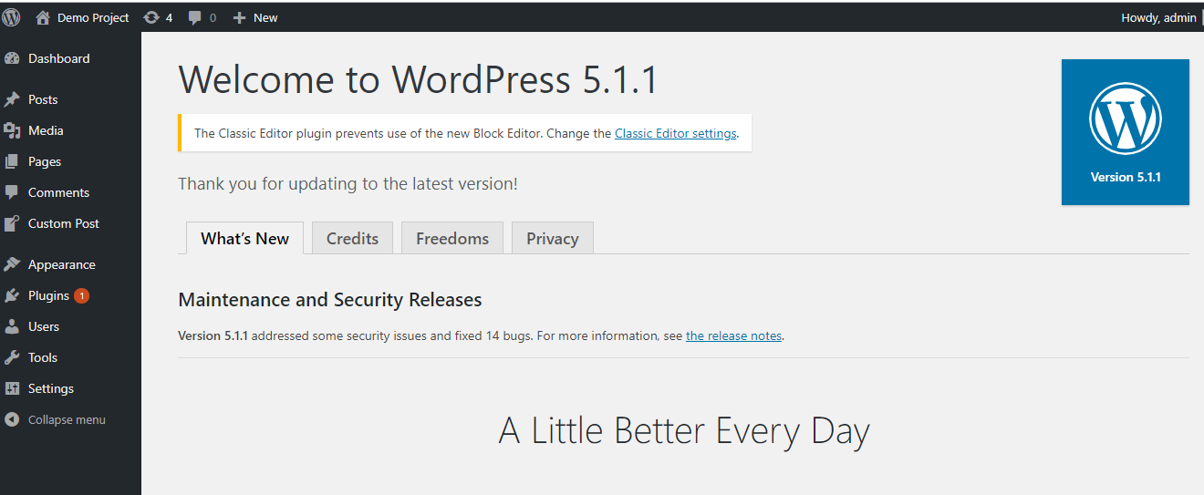 Method1- wordpress updated message will appear withe latest version