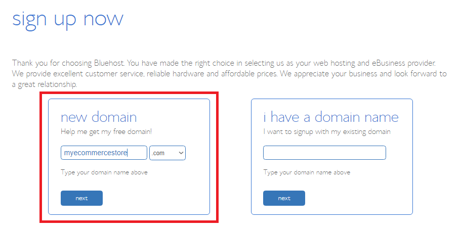 Sign up Bluehost