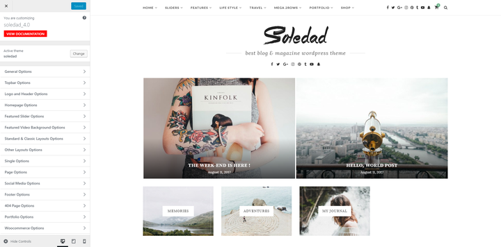 Soledad- Blog theme with slider