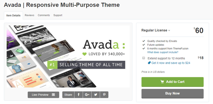 Avada- Business theme with slider
