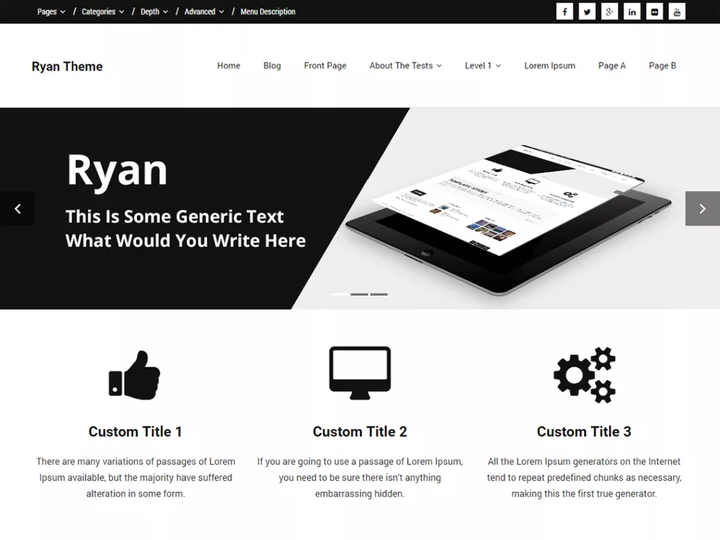 Ryan- Free WordPress theme with slider