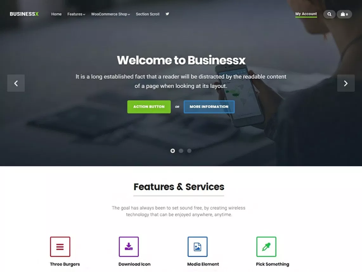 BusinessX- Free WordPress theme with slider