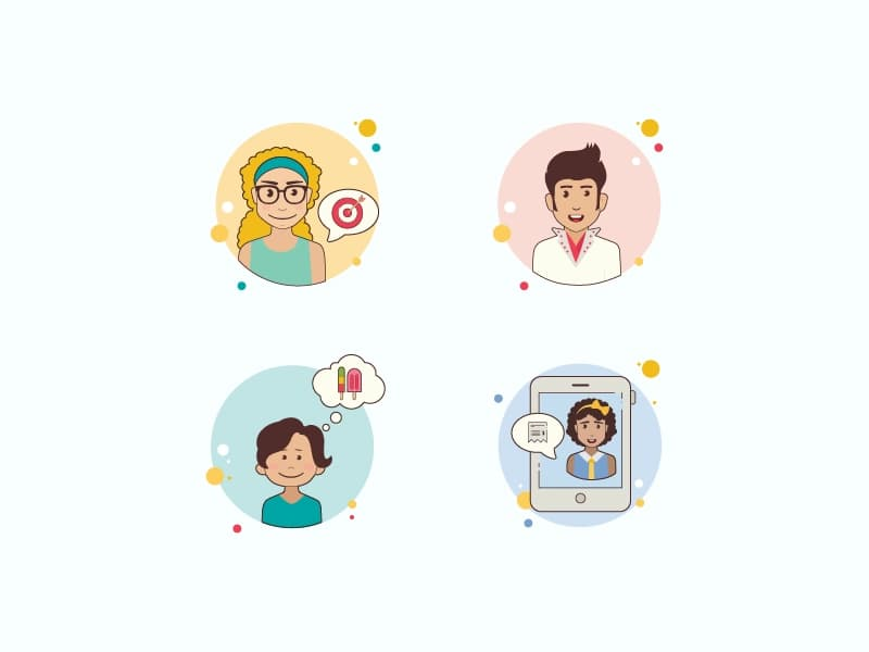 Characters in Circle Bubbles style