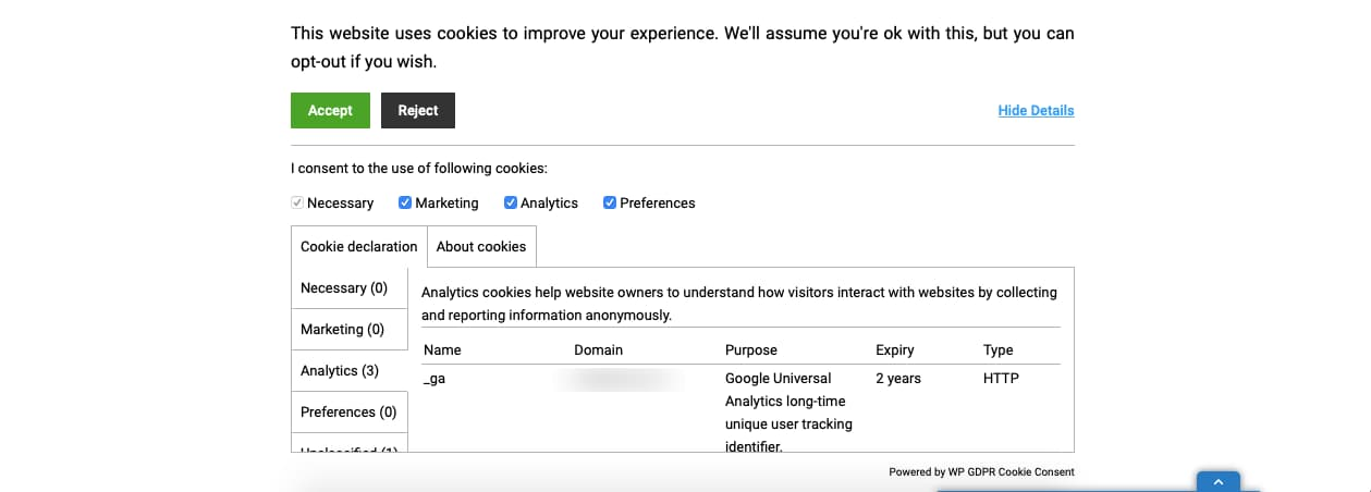 WP GDPR Cookie Consent