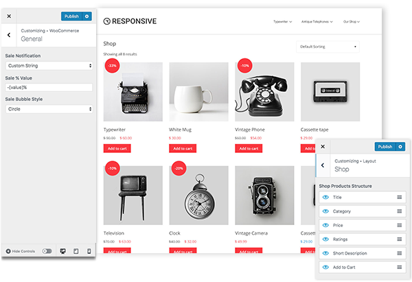 Responsive WP theme- WooCommerce Customizing options