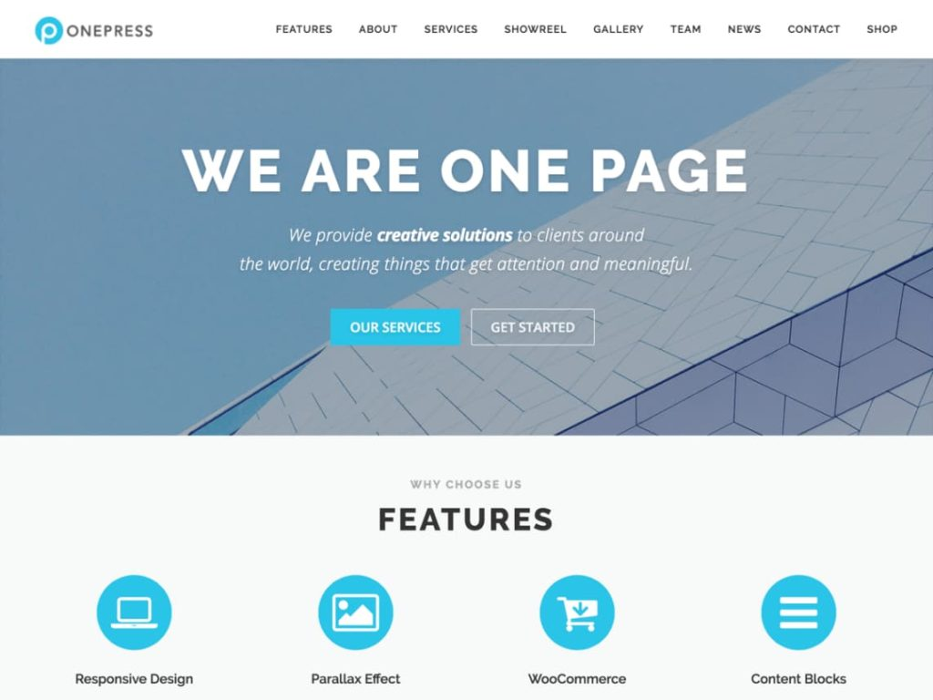 OnePress- best free wordpress themes for business
