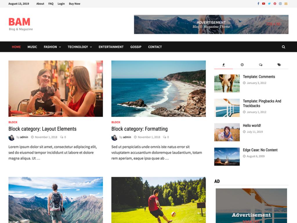 Bam - Free WordPress Magazine Theme