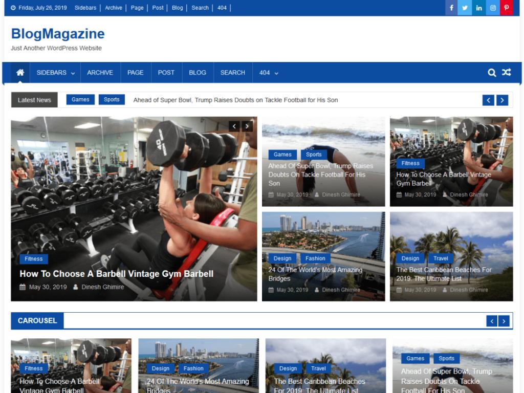 BlogMagazine - Free WordPress Magazine Theme
