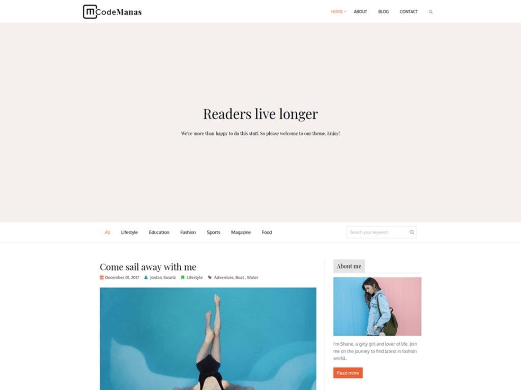 Code Manas- Free Blog WordPress Theme