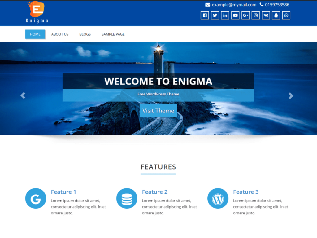 Enigma- Free WordPress Theme