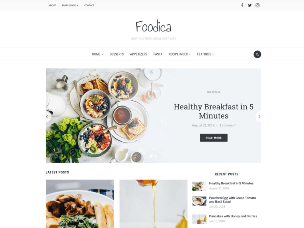 Foodica- Free WordPress Blog theme