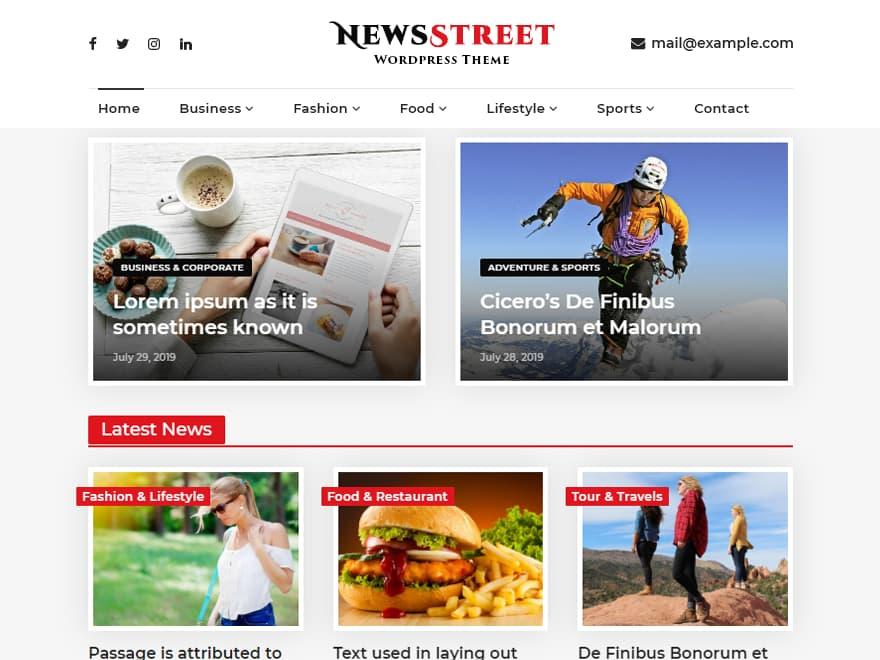 NewsStreet WordPress Magazine Theme