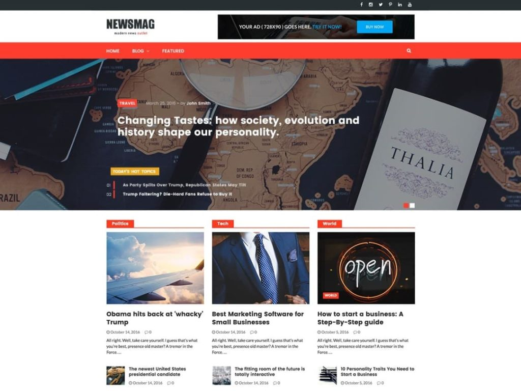 Newsmag Free WordPress News theme