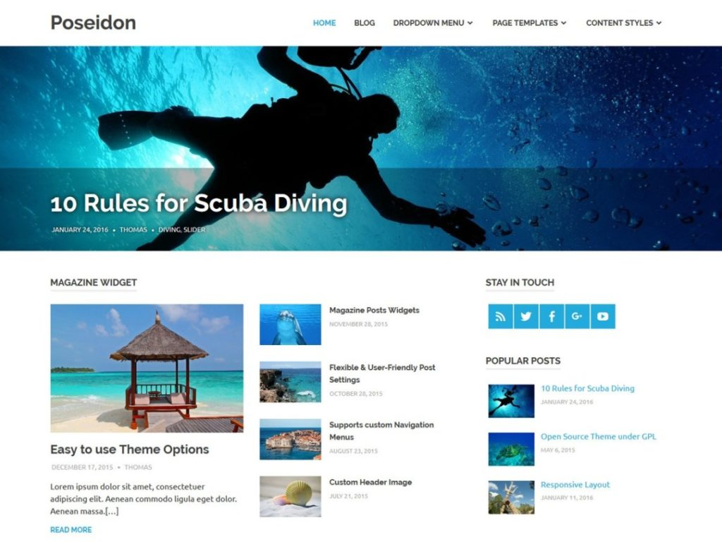 Poseidon Free WordPress Blog theme