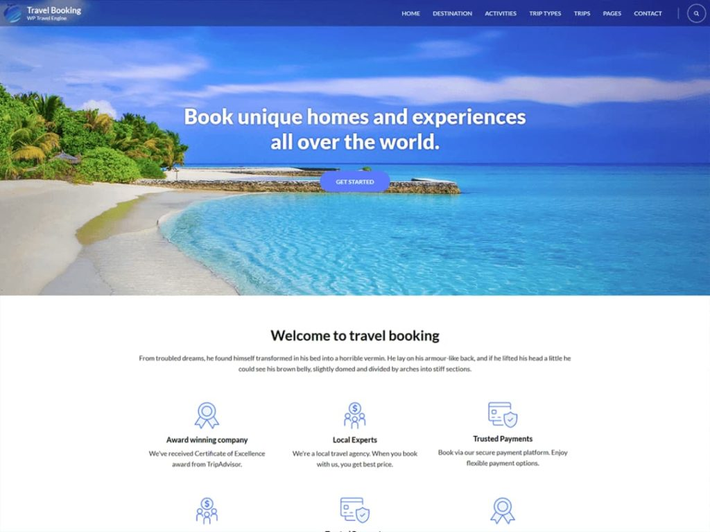 Travel booking Free WordPress Business Website