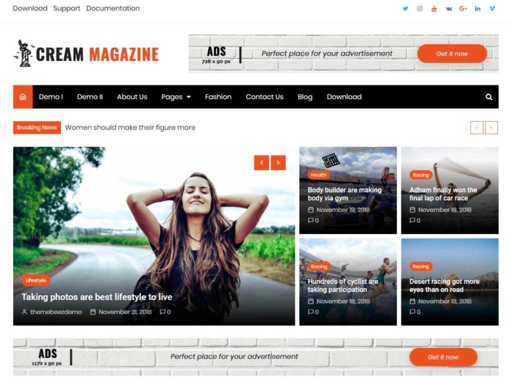 Cream Magzine Free WordPress Theme