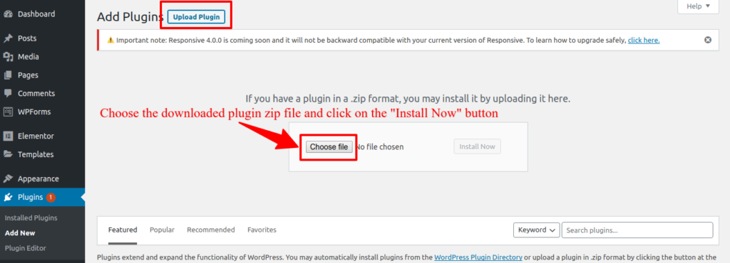 Wordpress: Upload Plugins screenshot