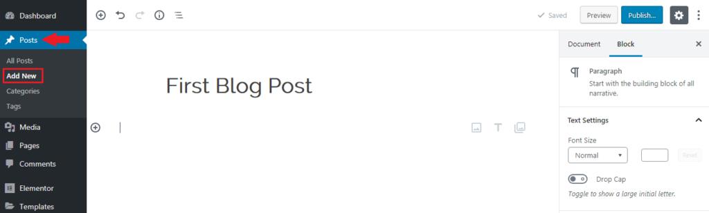WordPress- Add new post
