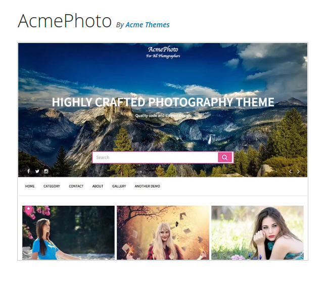 Acme Photo Photography WordPress Theme