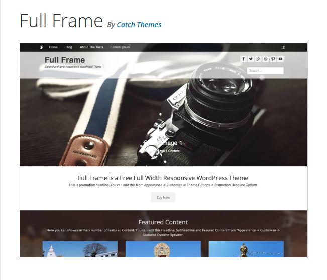 Full Frame Photography WordPress Theme