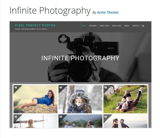 infinite photography wordpress theme