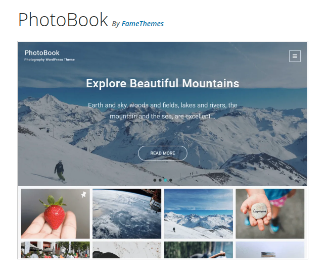 PhotoBook Photography WordPress Theme