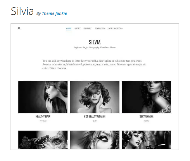 Silvia Photography WordPress Theme