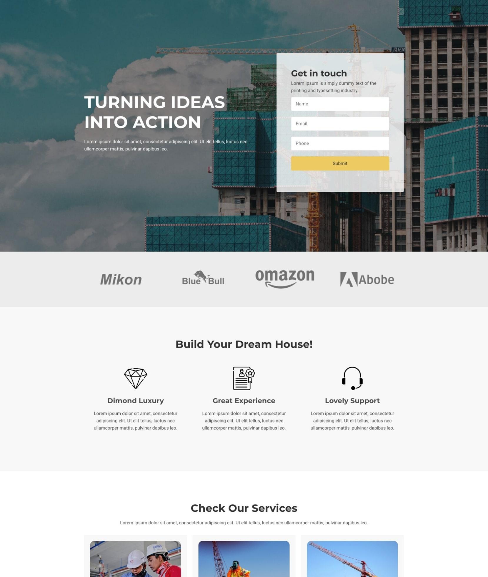 one page constrcution WordPress theme