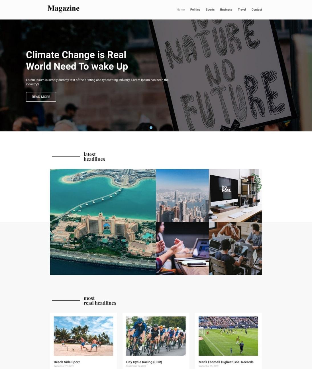 WordPress Magazine template by CyberChimps