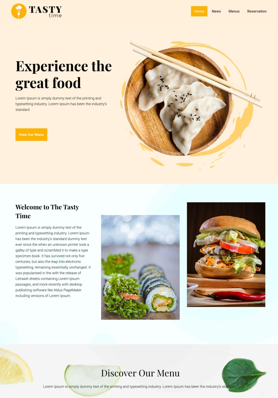 FreeWordPress restaurant theme