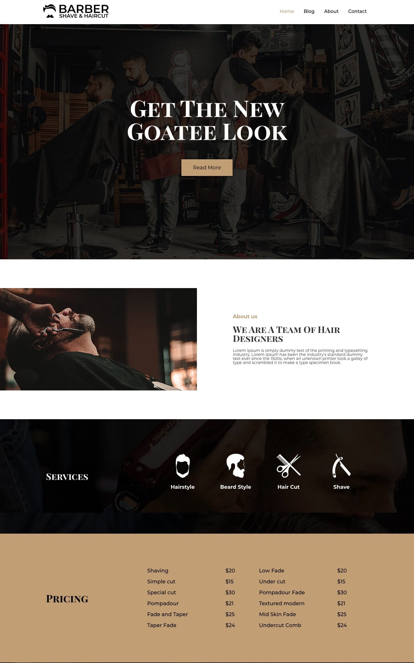 Free barber shop WordPress theme