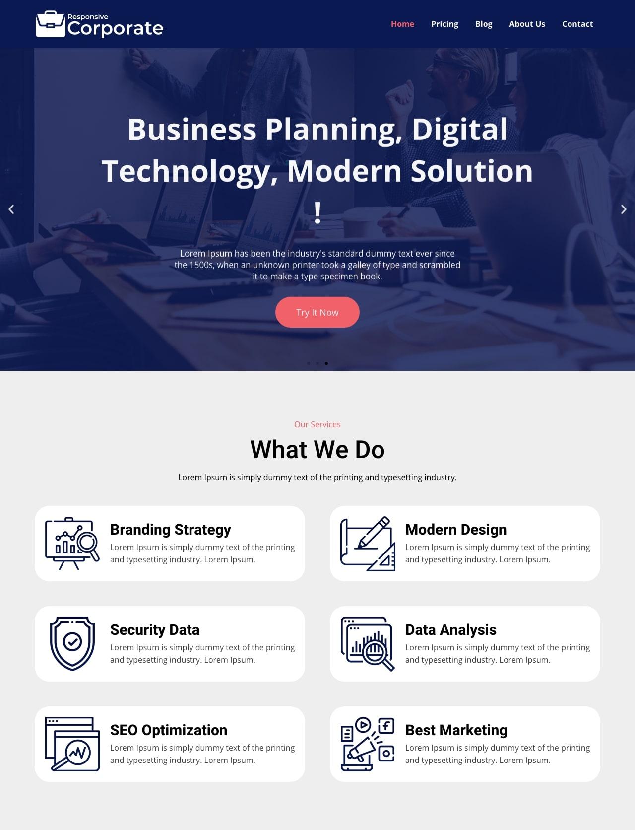 Premium corporate WordPress theme
