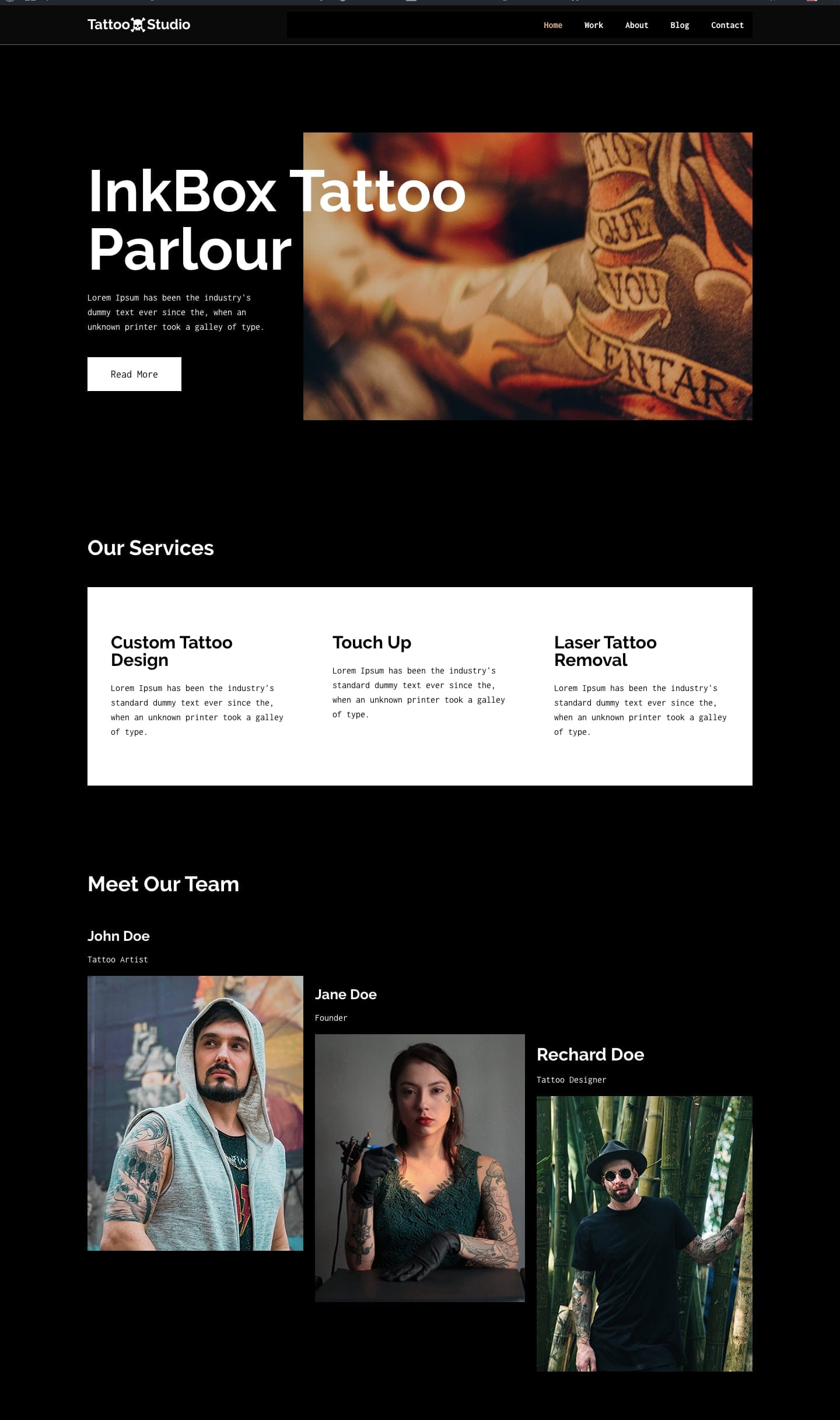 free tattoo WordPress theme