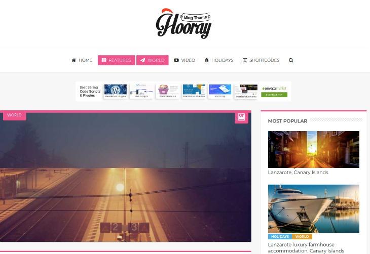 Hooray- WordPress theme for writers