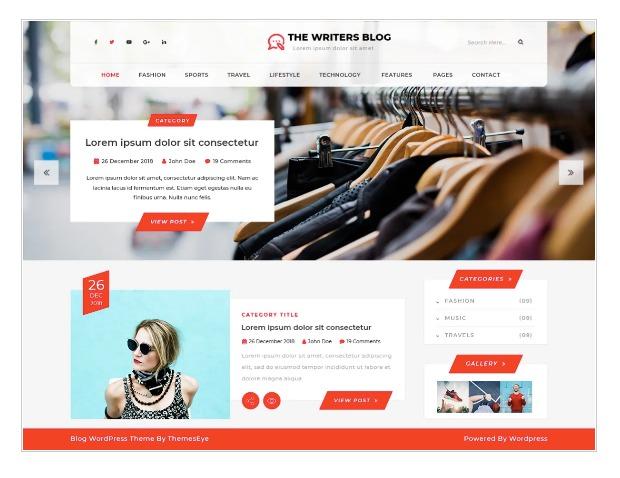 The writers blog - WordPress theme for writers