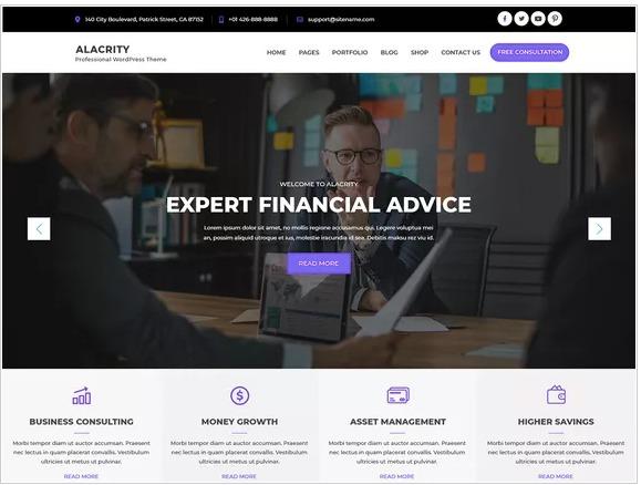 Alacrity Lite- WordPress Theme For Business