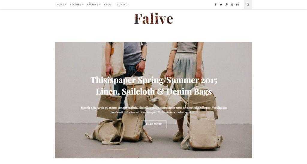 Falive- WordPress beauty blog theme