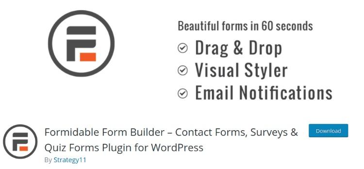 Formidable forms- WordPress form plugin